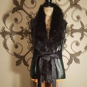 Vegan leather vest with faux fur